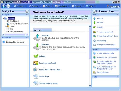 The Acronis Backup & Recovery for Windows Server Management Console Interface