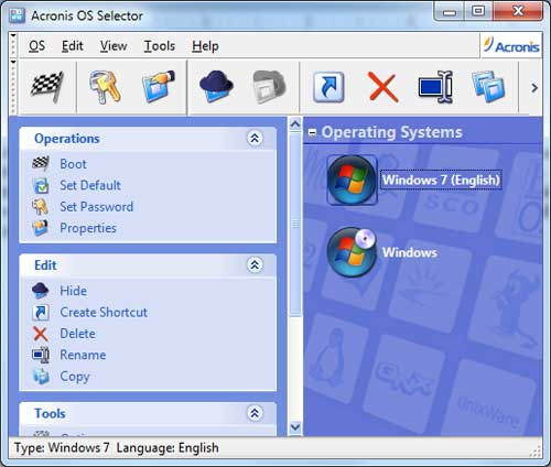 The Acronis OS Selector