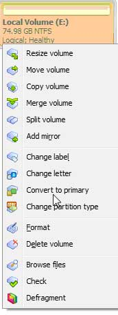 Convert Volume to Primary Partition