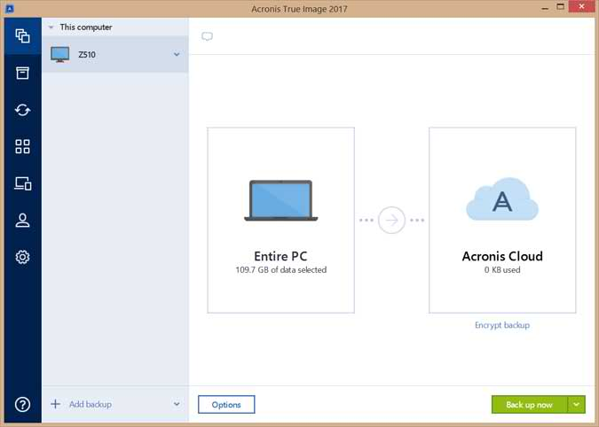 The Acronis True Image New Generation Interface