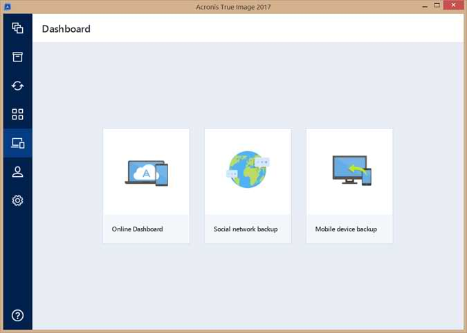 The Online Dashboard, Social Network Backup and Mobile Device Backup access buttons