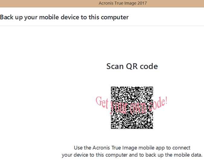 a QR Code example used to connect device