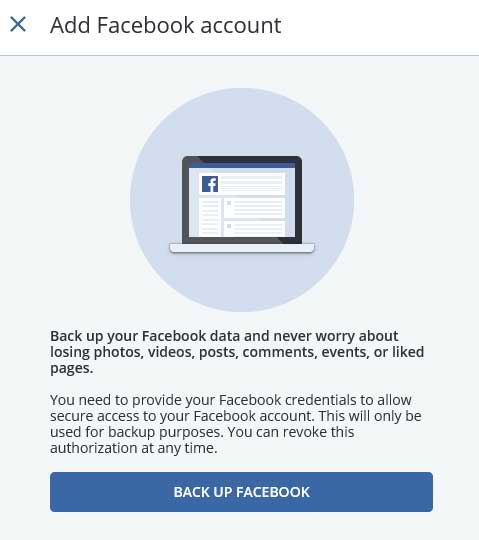 Add Facebook account screen
