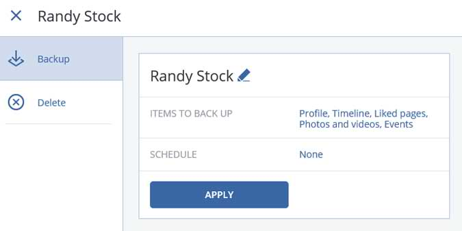 Confirmation screen to backup Facebook account