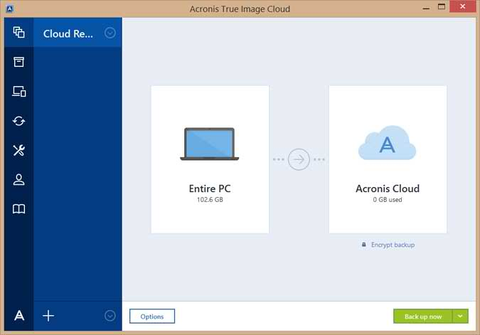Acronis True Image Cloud Main Interface