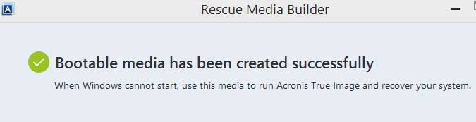 Bootable Media has been created successfully