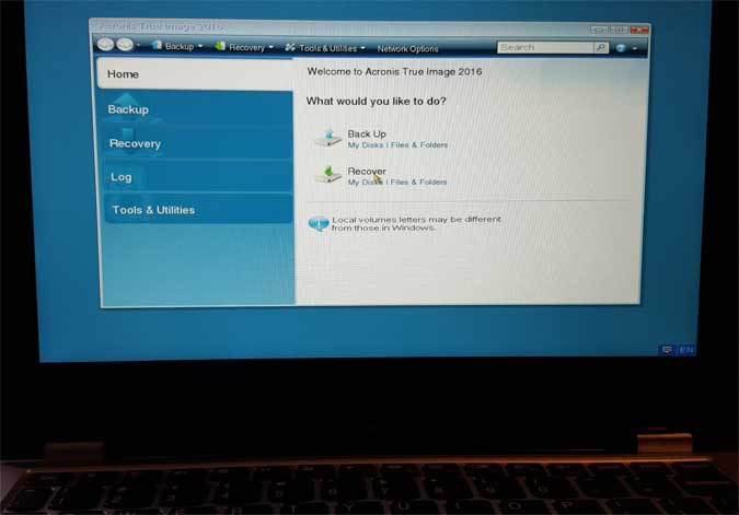 The Acronis True Image screen as seen booted from the flash drive
