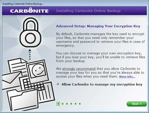 Managing your Encryption Key with the Carbonite Advanced Setup