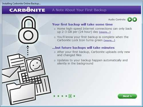 A Note About the First Carbonite Online Back Up