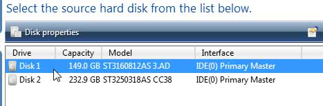 Select the Source Hard Disk