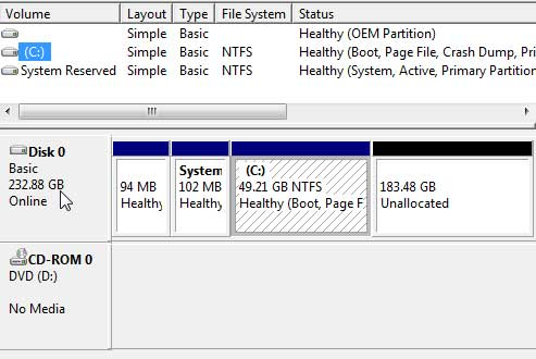 The Windows 7 Drive Manager Shows the New Drive Installed and Healthy