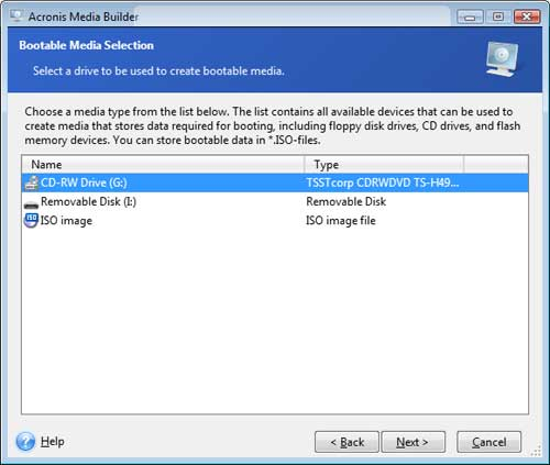 Create a Bootable CD using Acronis True Image