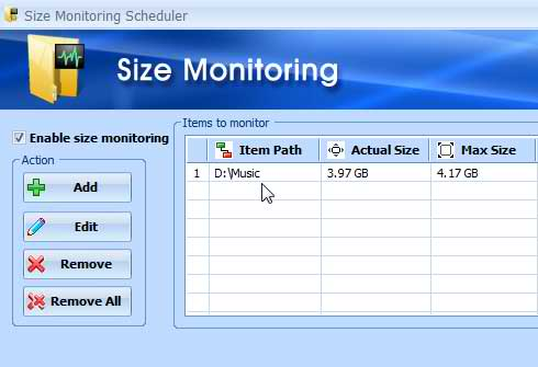 The Size Monitoring Scheduler