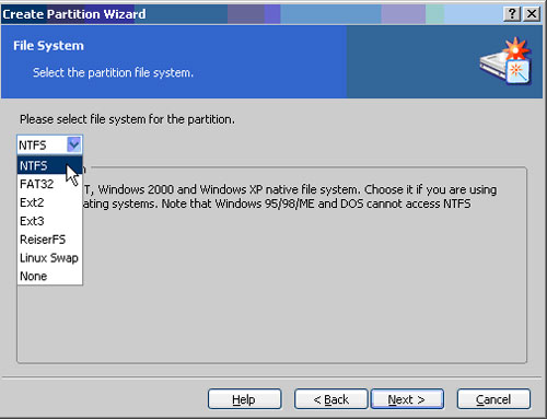 Choose the NTFS File System