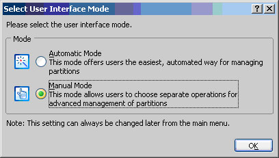 Choose the Manual Mode Option
