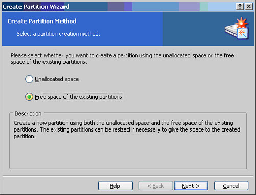 The Create Partition Wizard