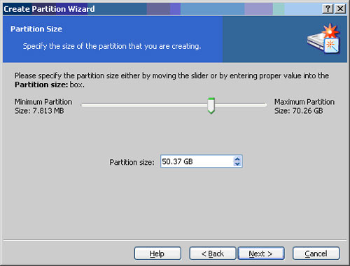 Select the Size of the new partition