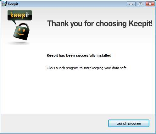 Keepit has been successfully installed