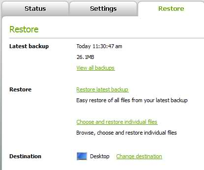 The Keepit Restore Screen