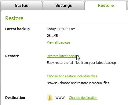 Changed the Restore Location