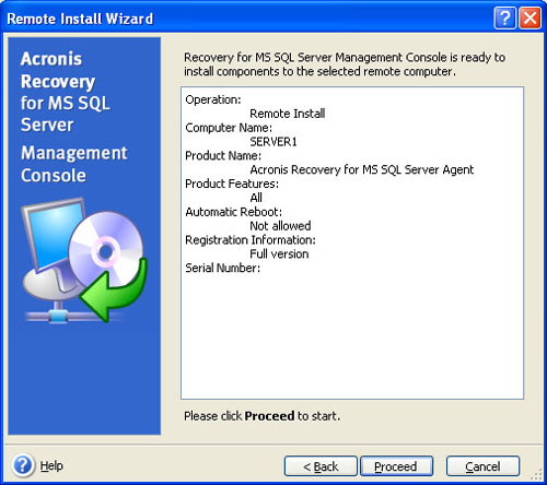 Remotely Install Acronis Recovery for MS SQL Server