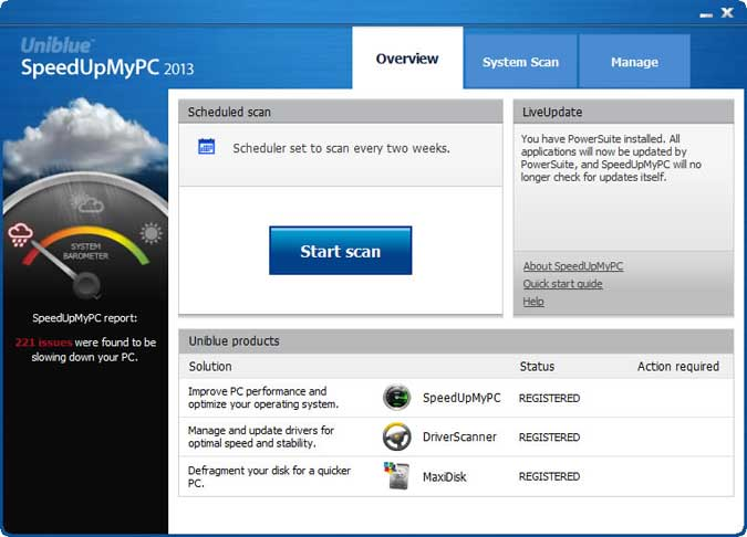 The New SpeedUpMyPC Main Interface