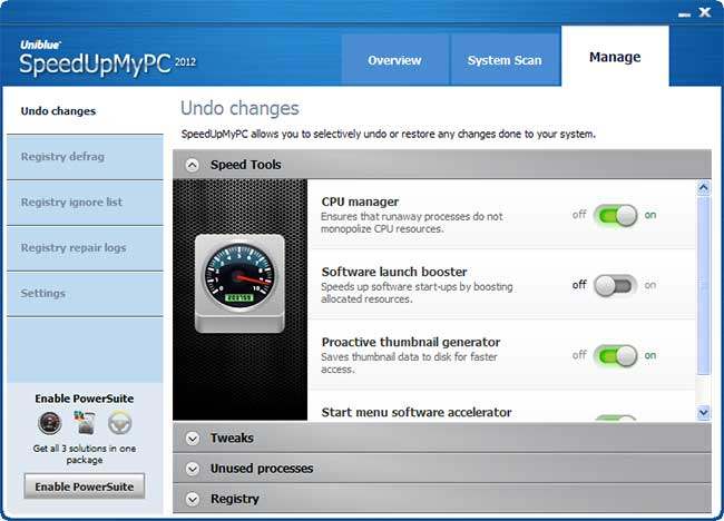 SpeedUpMyPC Manage