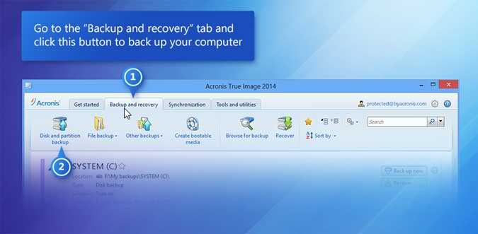 The Backup and Recovery Tab
