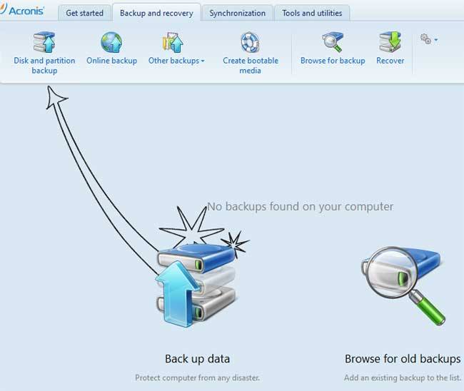 Click on Disk and Partition Backup