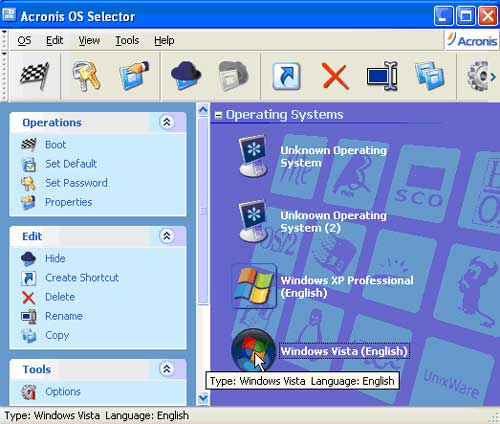 Choose operating system to boot with the OS Selector