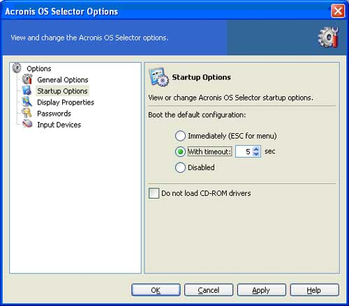 Acronis OS Selector options