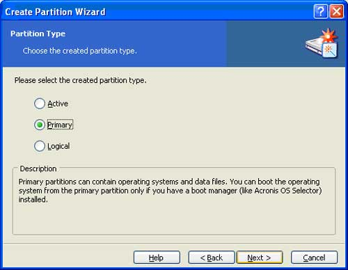 Make the new primary partition a primary partition