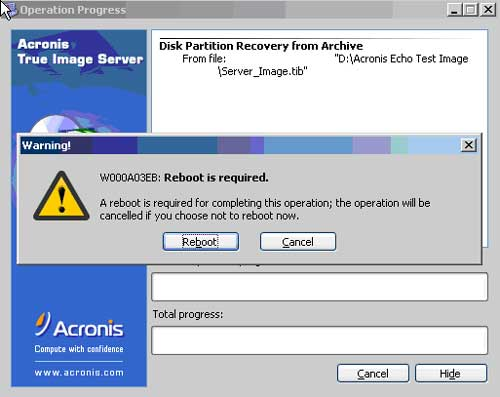 Reboot Required to finish the Acronis Operation