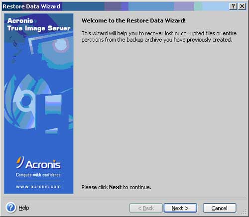 The Restore Data Wizard