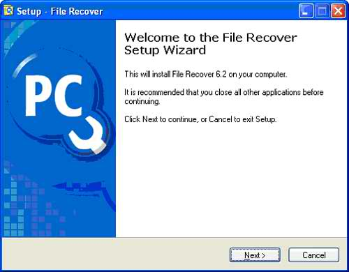 The File Recover Setup Wizard