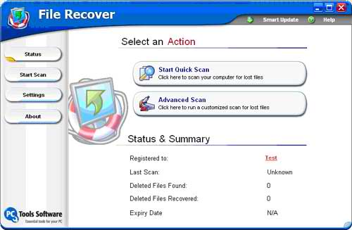 The PC Tools File Recover Main Interface
