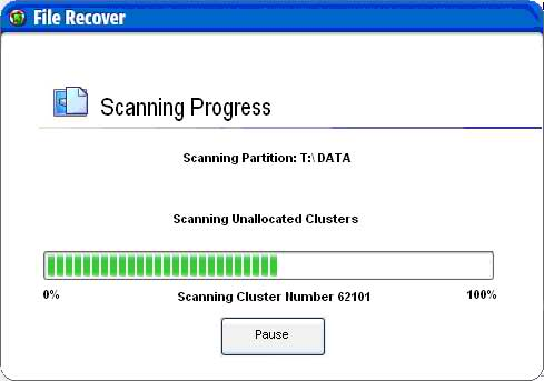 The File Recover Scanning Progress