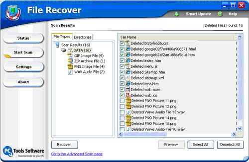 Shows the recoverable files