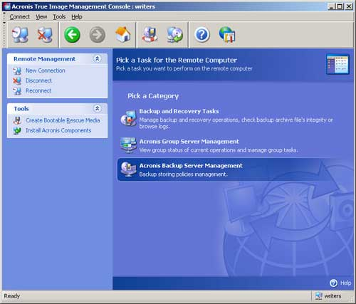 The Acronis True Image Workstation Management Console