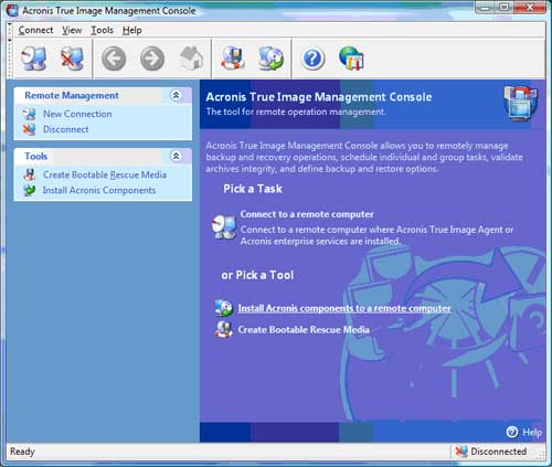 The Acronis True Image Management Console