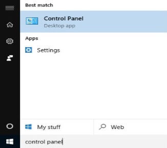 How to open the Windows control panel using the start menu