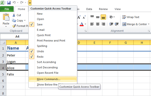 Customize Excel Quick Access Toolbar
