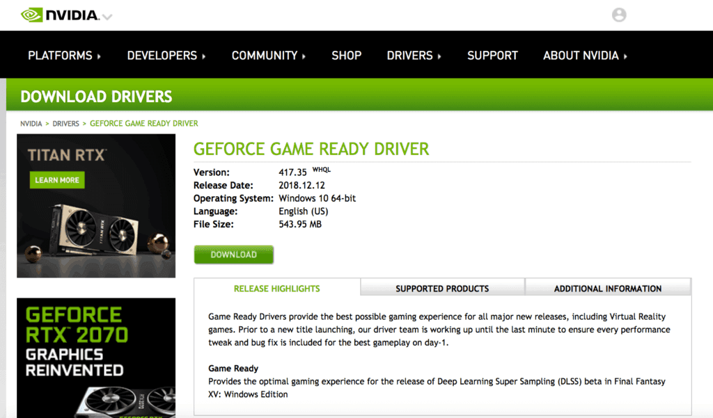 example of an NVIDIA driver
