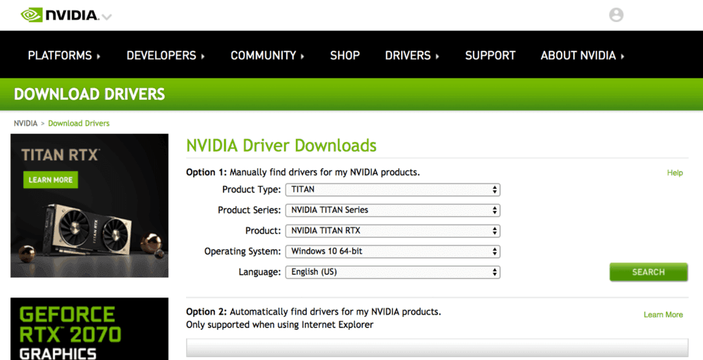 the NVIDIA driver downloads website