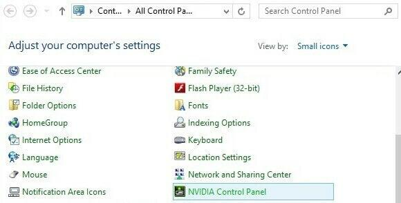 Where to find the Nvidia Control panel in the Windows control panel