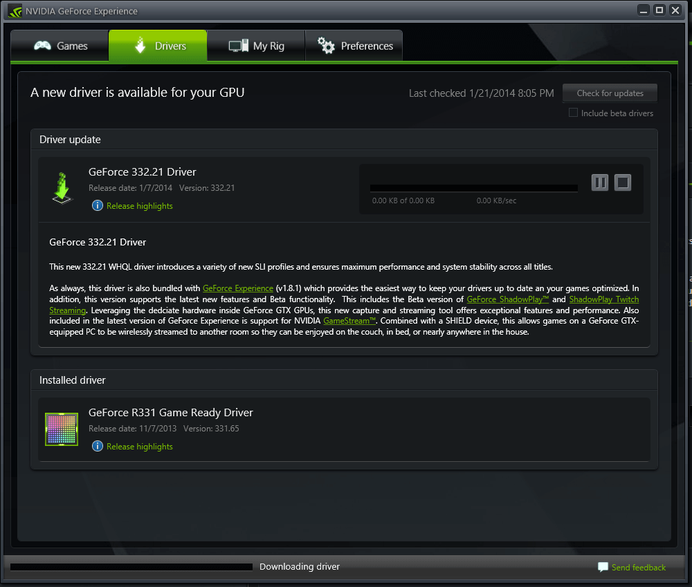 Screenshot of the GeForce Experience app