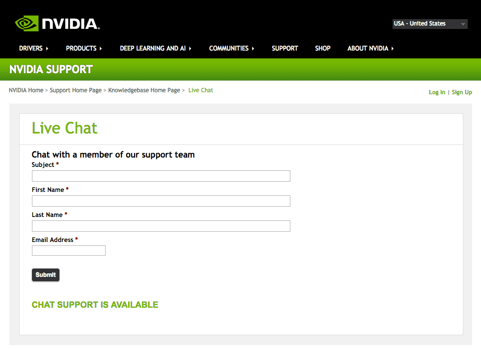Chat with Nvidia Support