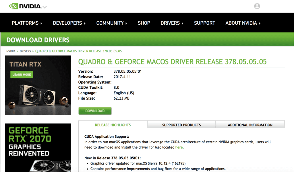 Screenshot of Max compatabile Nvidia Driver