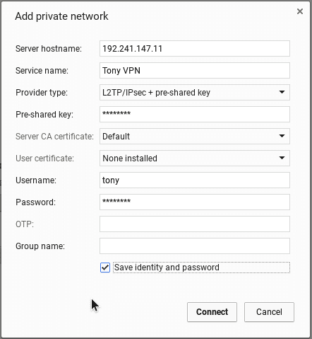 VPN settings in chromeos