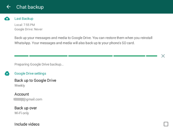 Back up WhatsApp to Google Drive
